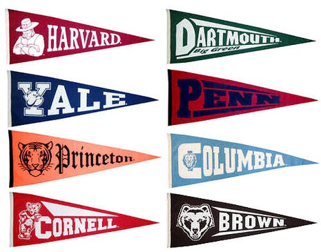 Various college banners