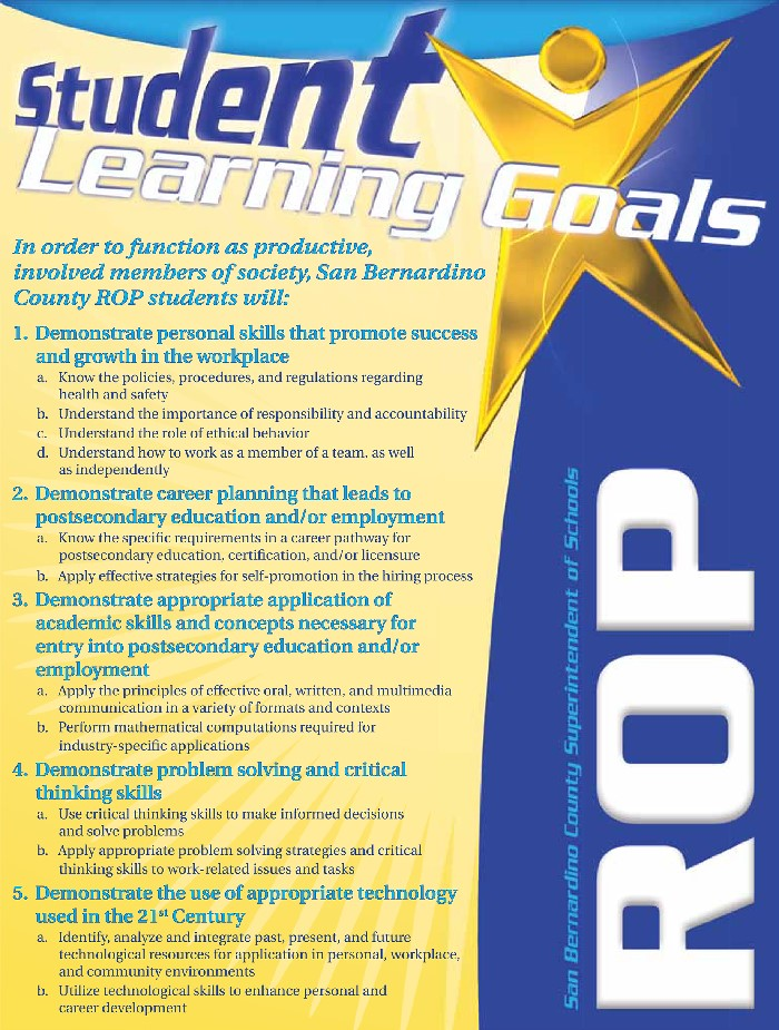 ROP Student Learning Goals sign
