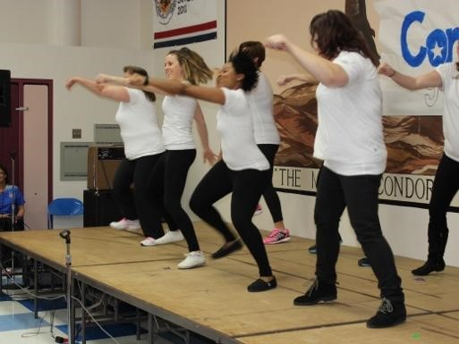 Staff as Artist assembly.  Staff on stage dancing
