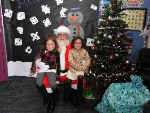 Students with Santa Claus