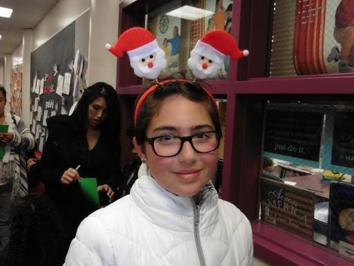 Student with Santa Claus ears