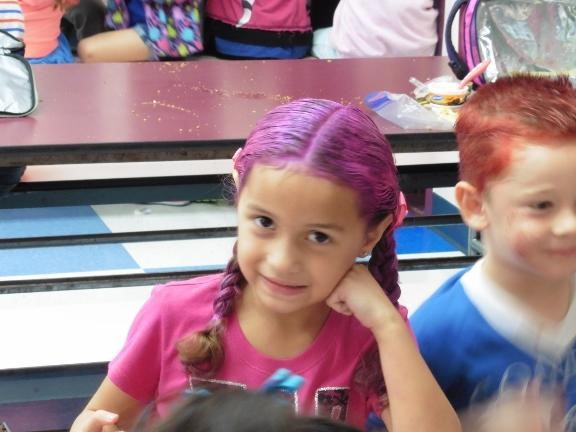 Crazy Hair day.  Student with crazy hair