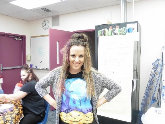 Staff member with crazy hair