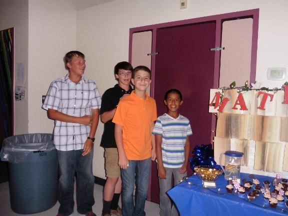 Students at 6th grade dance refreshment table