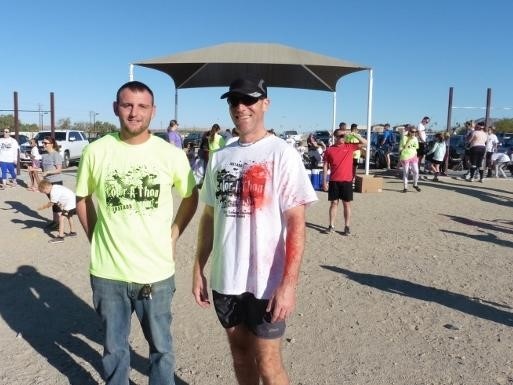 Two teachers at the Condor's Color Run