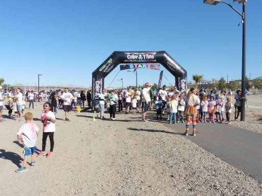 Condor's Color Run.  Students at starting line