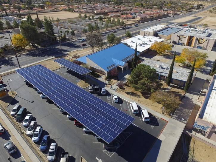 Solar Panel over view at Yucca Valley High School