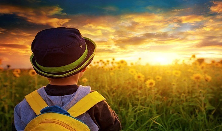 Child Looking at Flowers with Sunset in Background