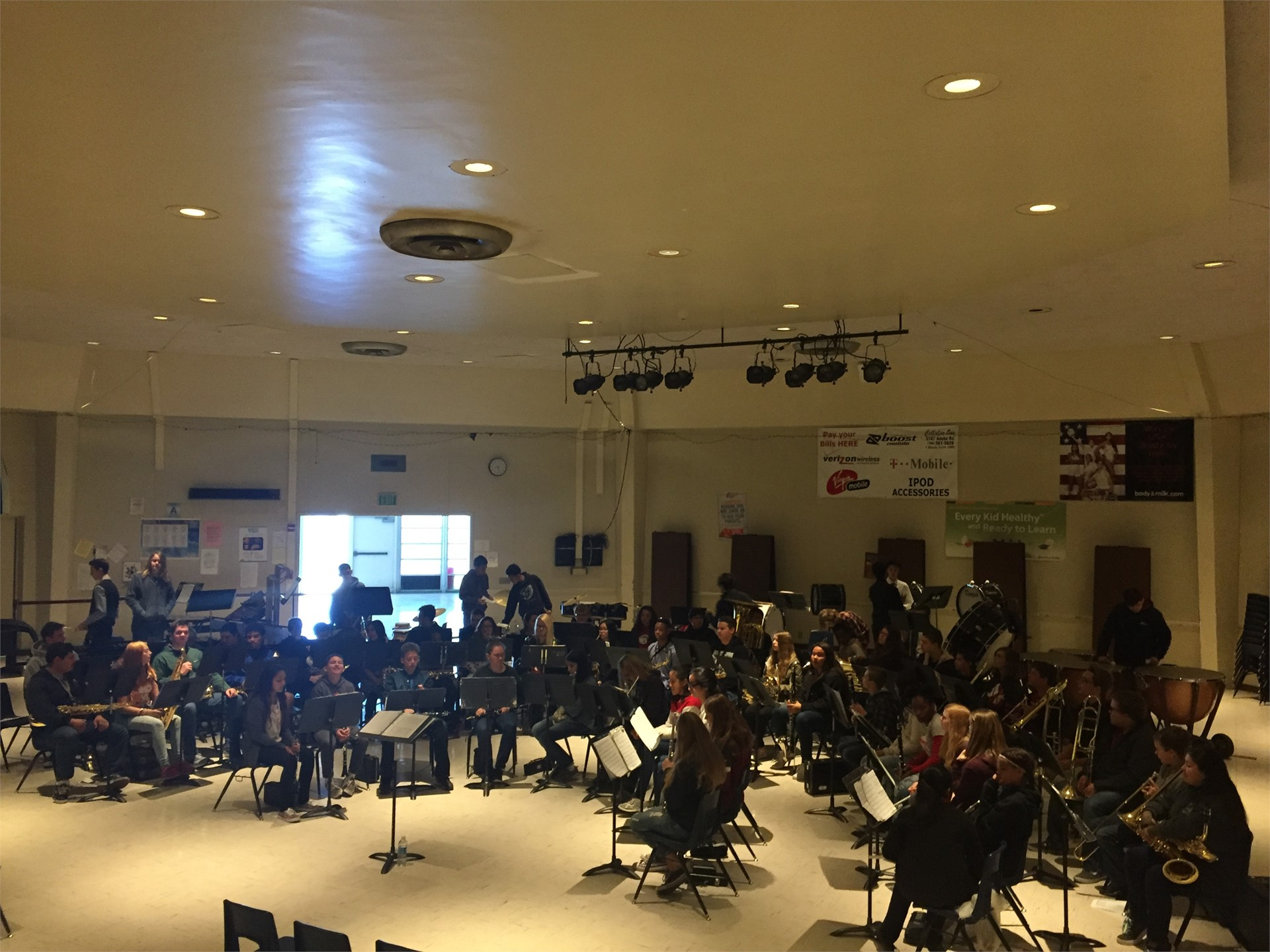 Band students from the High School and Jr High School playing music