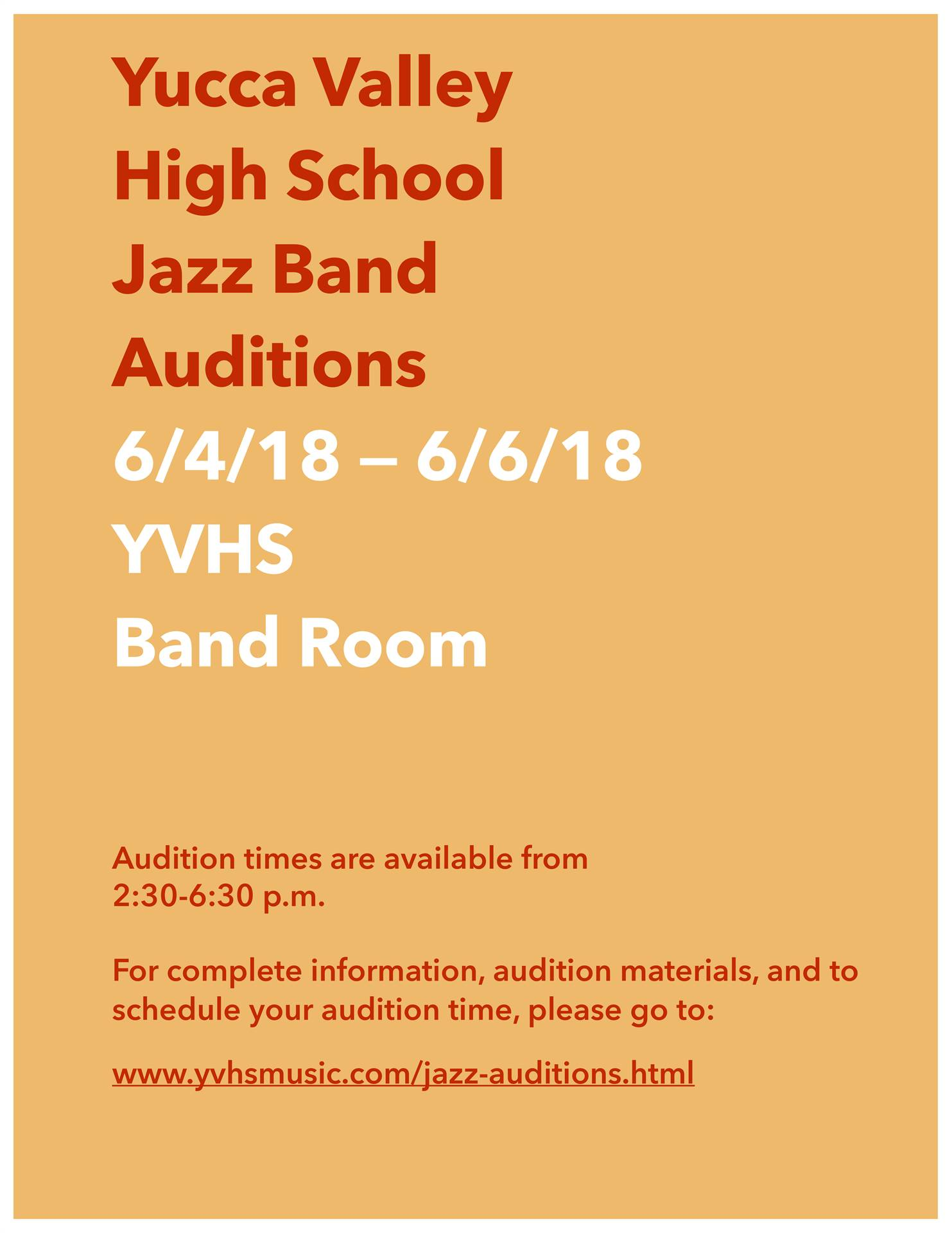 YVHS Jazz Band Audition Information