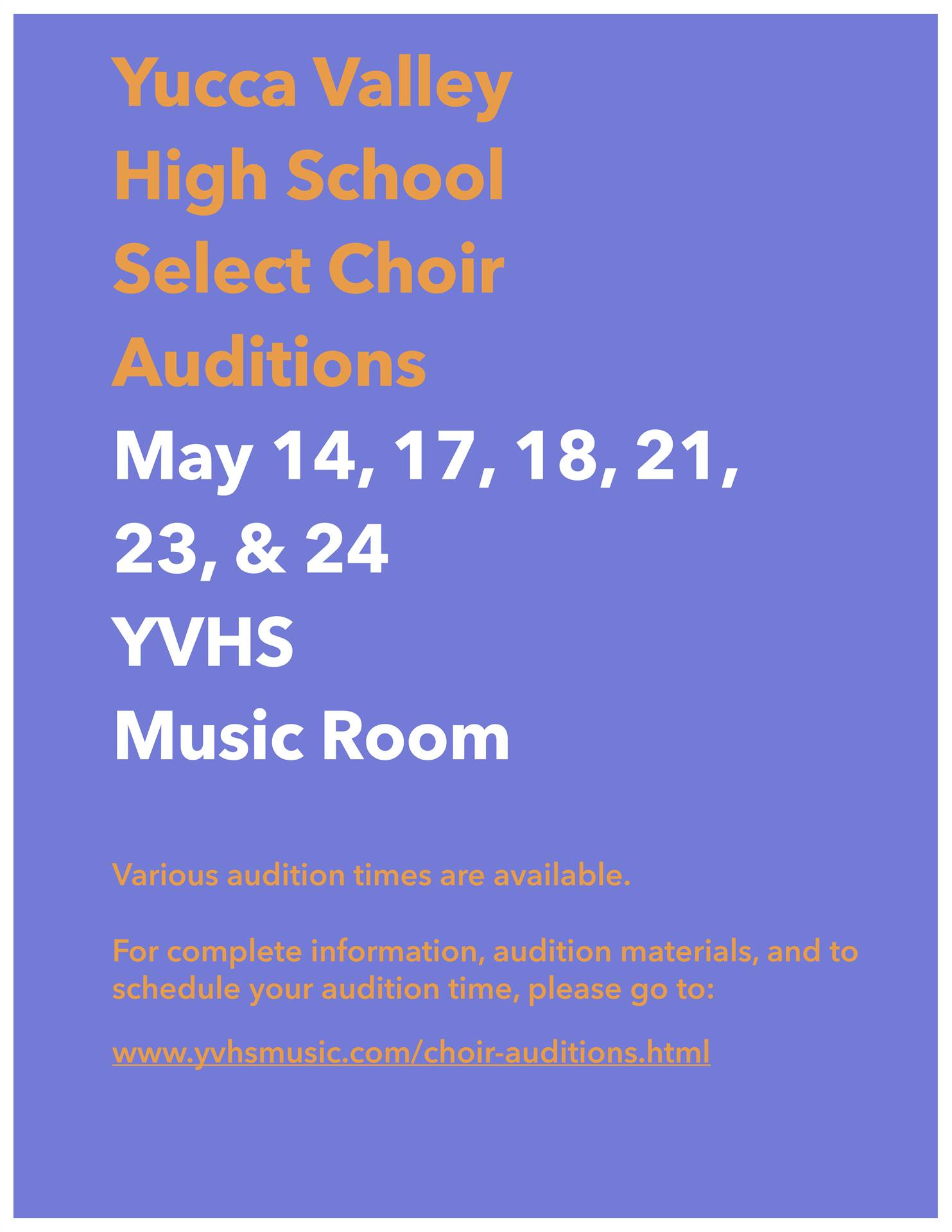 YVHS Select Choir Audition Information