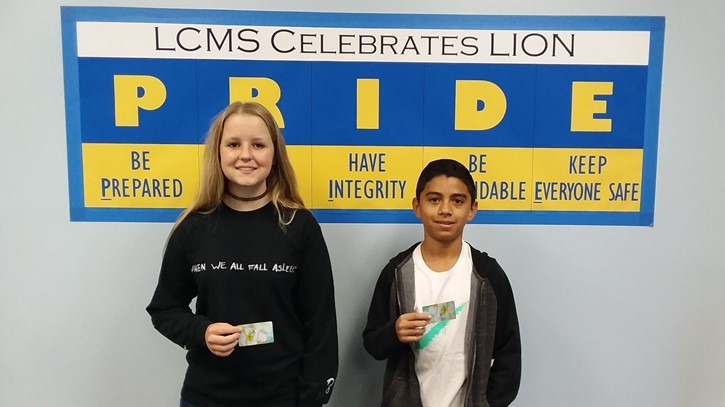 1st Qtr. Perfect Attendance Award from LCPA; 7th - Adrian Tamayo & 8th -Carleigh Fraser