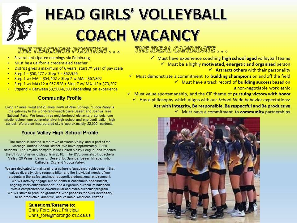 Volleyball Coaching Vacancy