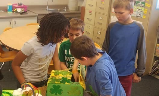 Students testing their leprechaun traps