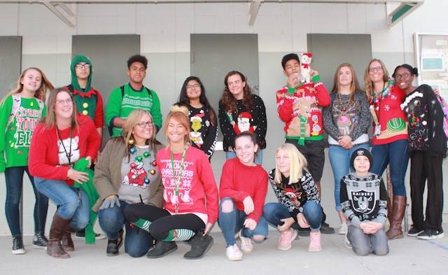 "Students and staff on ""Ugly Sweater Day"""
