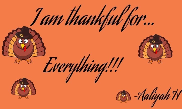 Student art: Aaliyah H. is thankful for everything!