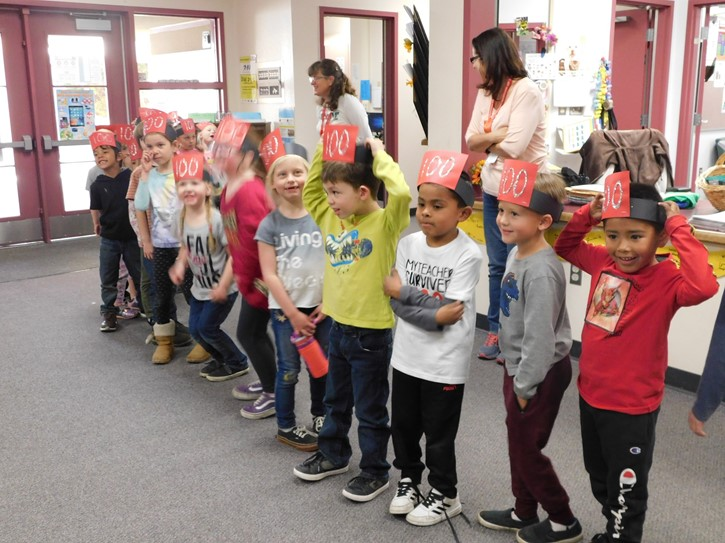 Kindergartners on the 100th day of school