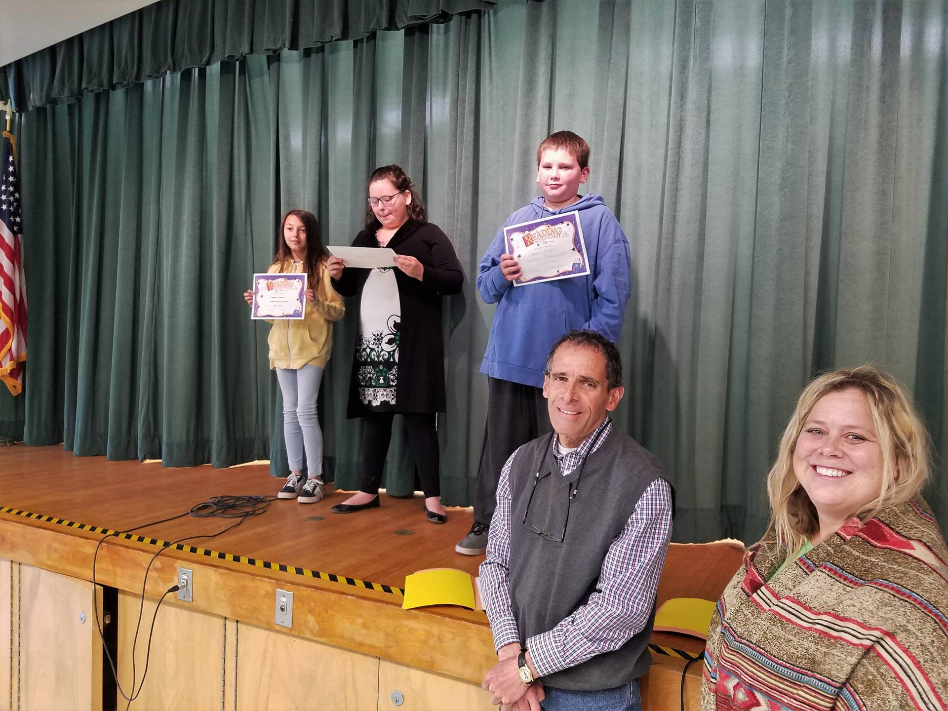 Mr. Art and Mrs. Gordon with Reading award recipients