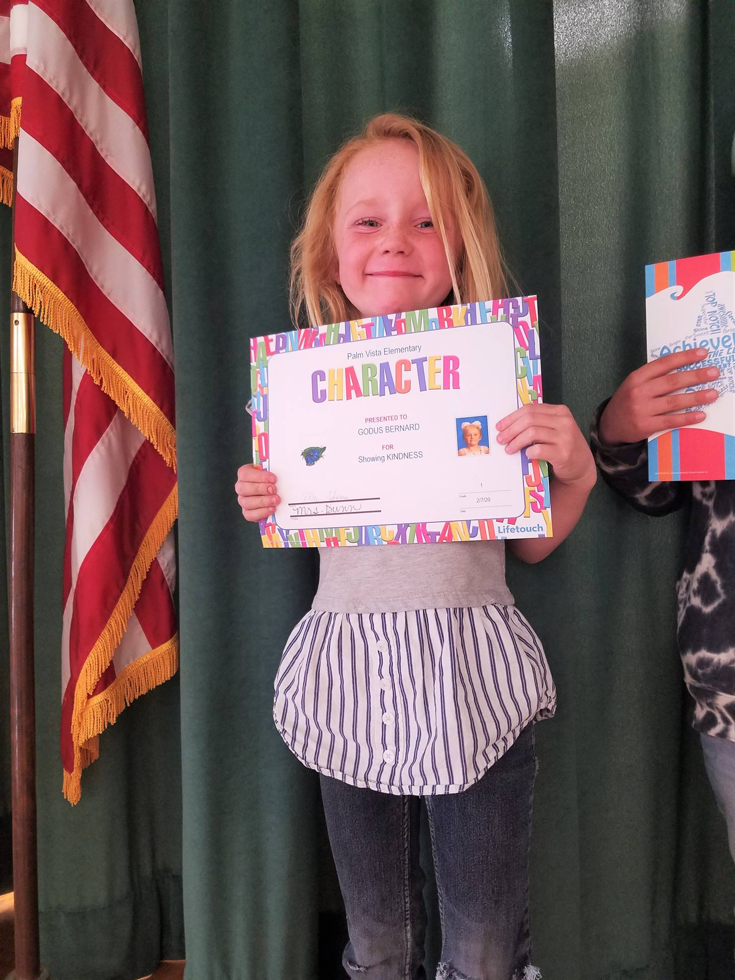 Student receiving Character award