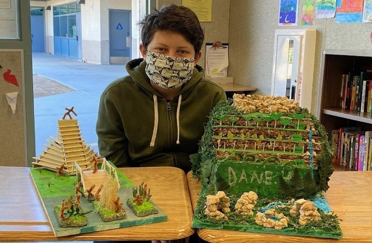 7th Grader Dane Hall with his Meso-American & Andean Civilizations Project