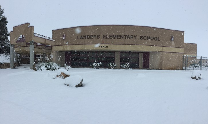Landers Elementary School in the Snow