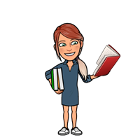 Bitmoji of Carolyn Harmon with books